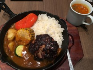 ハンバーグ ストロング:グリル野菜のハンバーグカレー